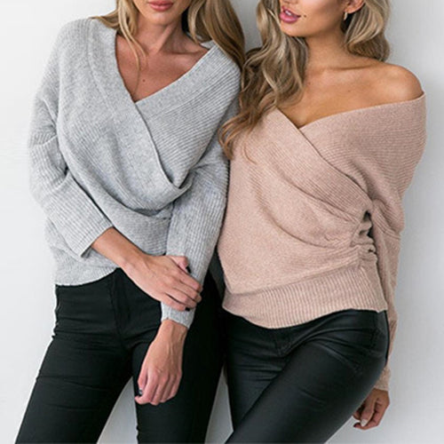 Maternity Surplice Plain Loose  Knitted Tops