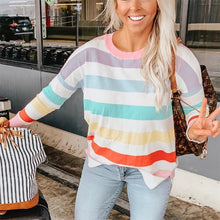 Load image into Gallery viewer, Maternity Casual Color Striped Long Sleeve Round Neck Sweatshirt