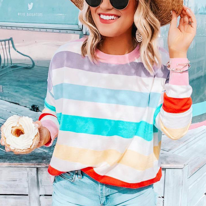 Maternity Casual Color Striped Long Sleeve Round Neck Sweatshirt