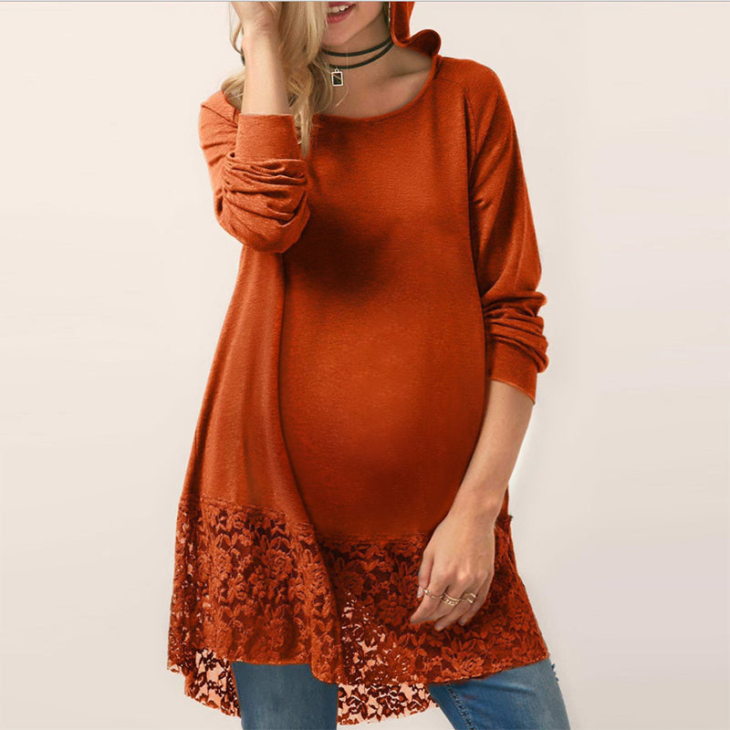 Maternity Fashion Round Neck Pure Colour Long Sleeve Dress