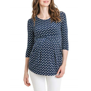 Maternity O-Neck Three-Quarter Sleeve Printed T-Shirt