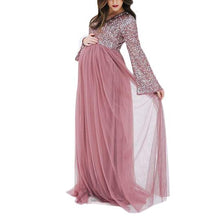 Load image into Gallery viewer, Maternity V-Neck Long Sleeve Tulle Gown With Tonal Delicate Sequins