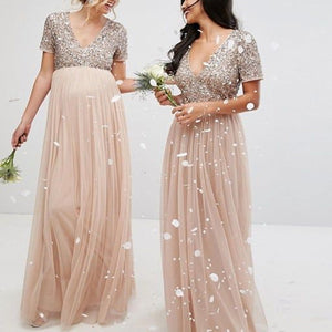 831657b9e6b38 Maternity V Neck Maxi Tulle Dress With Tonal Delicate Sequins