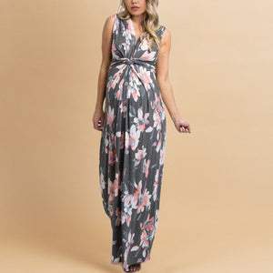 1c375929abae6 Light Pink Floral Sleeveless Knot Front Maternity Maxi Dress
