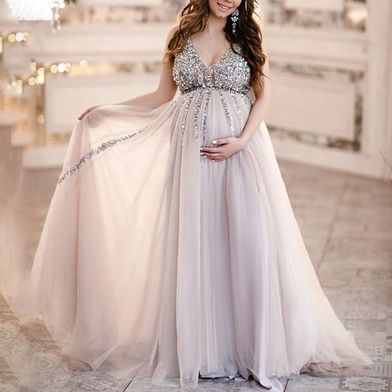 771adf06aa5f0 Load image into Gallery viewer, Maternity V-Neck Maxi Tulle Gown With Tonal  Delicate ...