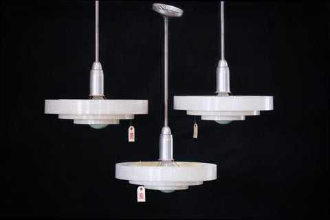Moderne Steel and Plexiglass Hanging Fixture c.1960