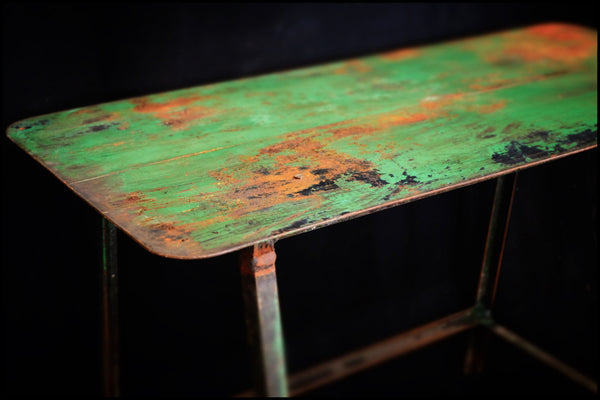 Shop Built Steel Side Table w/ Mellow Green Paint c.1950