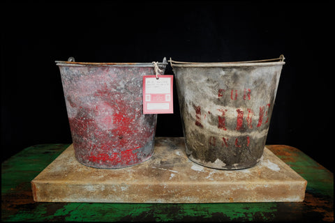 Pair of Early 20th Century Fire Buckets w/ Stand