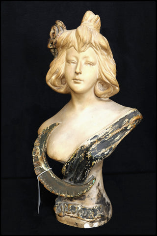"Plaster Art Nouveau Bust of Woman w/ Crescent Moon ""Le Jour"". French c.1900"