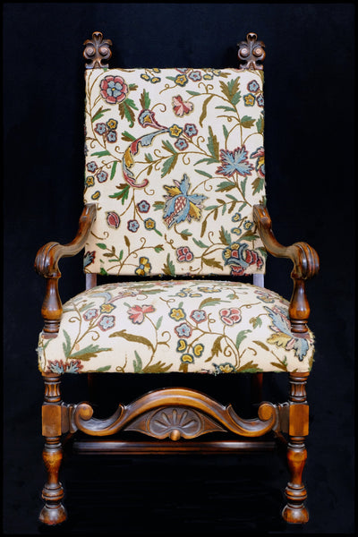 Carved Wooden Arm Chair w/ Crewel Fabric - early 20th century