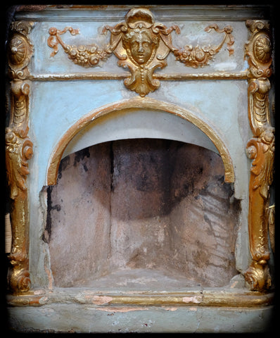 Continental EuropeanTerra Cotta Corner Fireplace c.1875