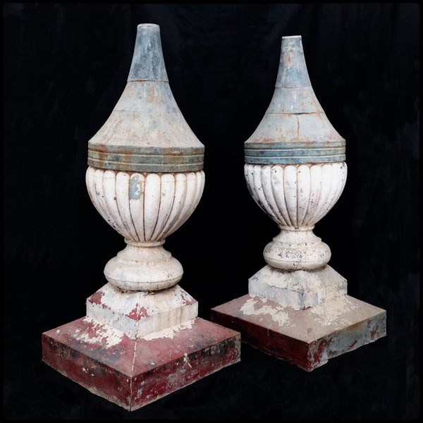 Pair of Painted Tin Finials early 20th Century