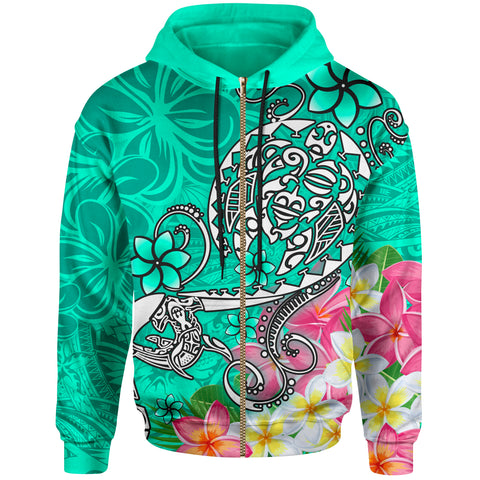 Polynesian Zip-up Hoodie - Turtle Plumeria Turquoise Color - BN18