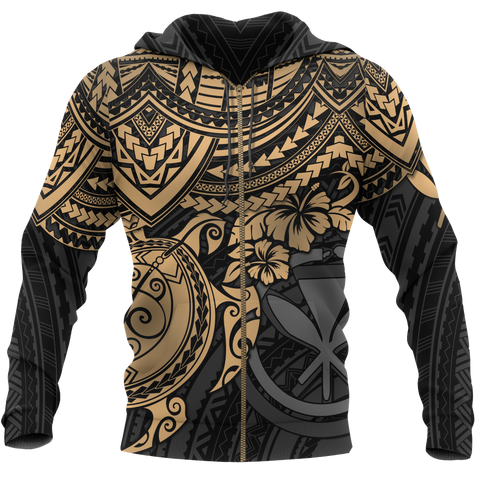 Polynesian Hawaii Hoodie (Zip-up) - Gold Turtle