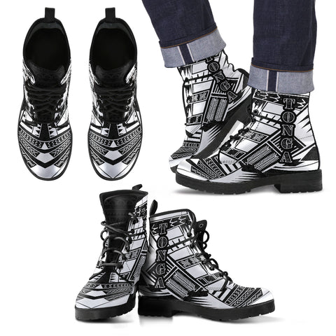 Image of Men's Tonga Leather Boots - Polynesian Tattoo Black