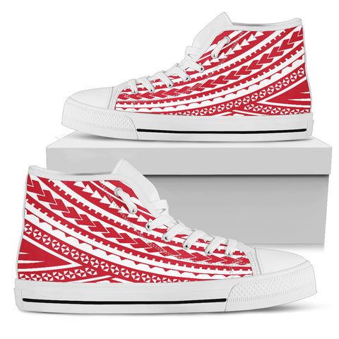 men's Polynesian High Top Shoes - Red Version White