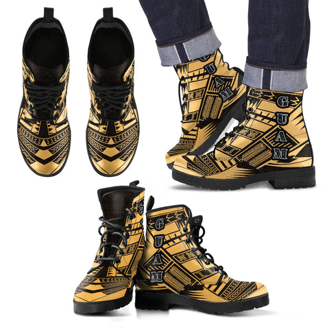 Men's Guam Leather Boots - Polynesian Tattoo Gold