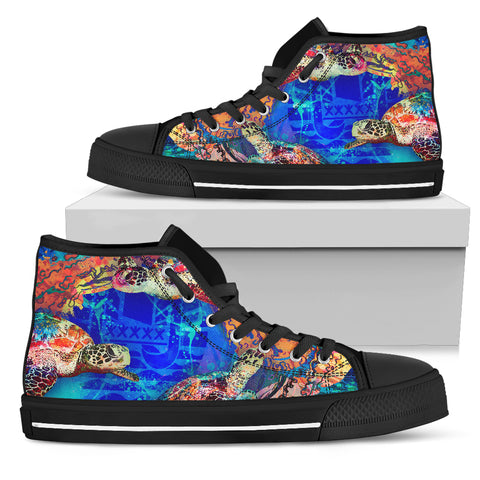 Tahiti Polynesian High Top Shoes - Coral Treasure