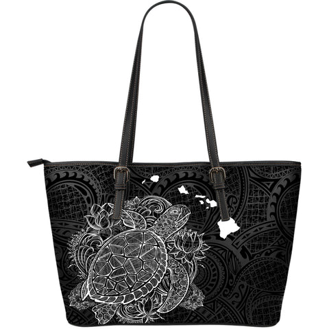 Polynesian Hawaii Leather Tote - Turtle Map White Black - BN01