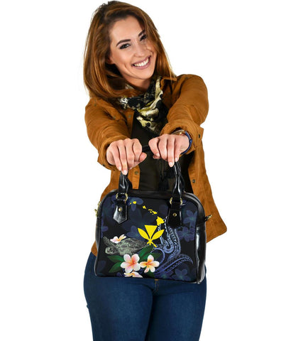 Polynesian Hawaii Shoulder Handbag - Turtle With Plumeria Flowers