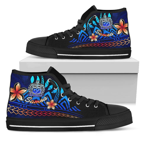 Samoa High Top Shoes Blue - Vintage Tribal Mountain