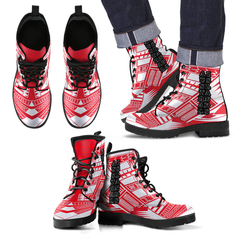 Men's Austral Islands Leather Boots - Polynesian Tattoo Flag