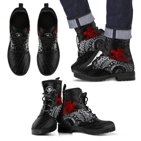 Polynesian Hawaii Leather Boots - Polynesian Turtle (Red) - BN15