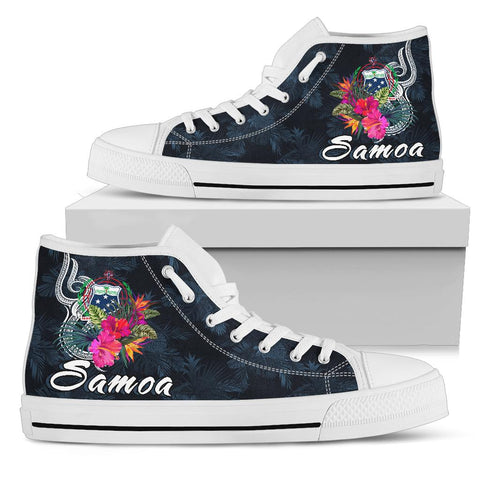 Image of Samoa Polynesian High Top Shoe - Tropical Flowers - BN12