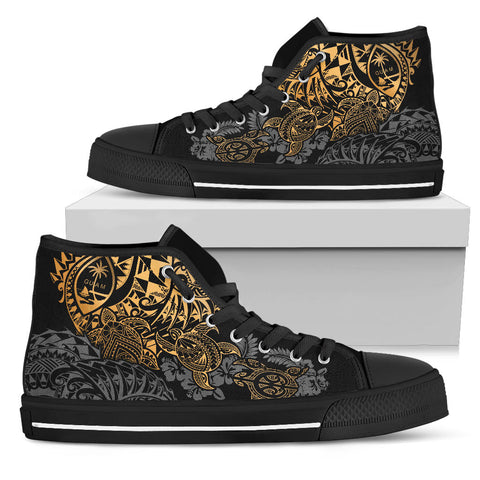 Guam Polynesian High Top Shoes - Gold Turtle Flowing