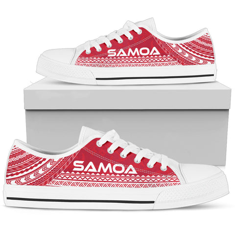 Men's Samoa Low Top Shoes - Polynesian Flag Chief Version