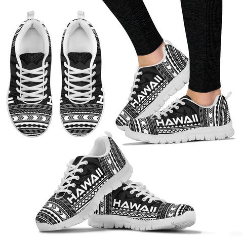Image of Women's Hawaii Sneakers - Polynesian Chief Black Version White