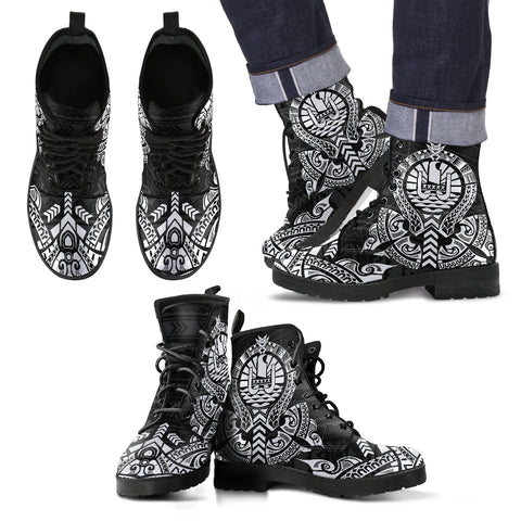 French Polynesia Leather Boots - Tribal - BN04