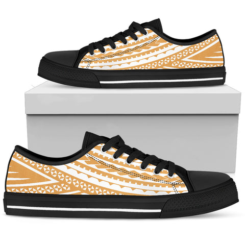 Mens Polynesian Low Top Shoes - Gold White Version Black