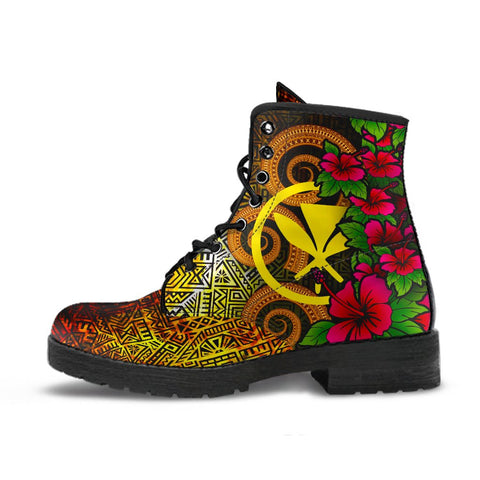 Hawaii Polynesian Leather Boots - Hibiscus Vintage - BN12