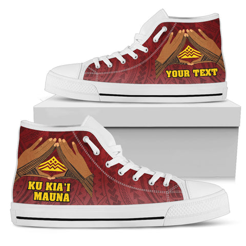 Hawaii Mauna Kea Custom Personalised High Top Shoes - Hand Sign Symbol - BN12