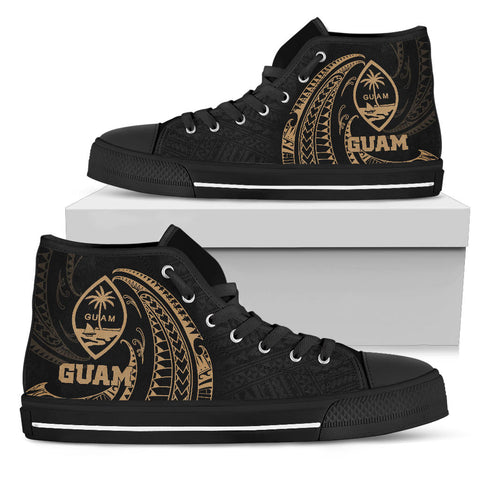 Guam Polynesian High Top Shoe - Gold Tribal Wave
