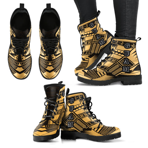 Women's Guam Leather Boots - Polynesian Tattoo Gold