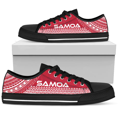 Women's Samoa Low Top Shoes - Polynesian Flag Chief Version