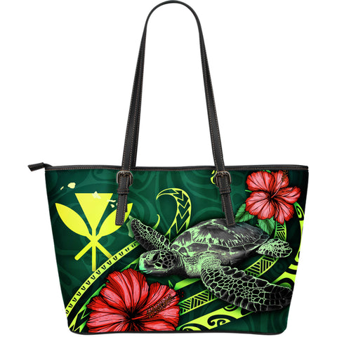 Hawaii Polynesian Leather Tote Bag - Green Turtle Hibiscus