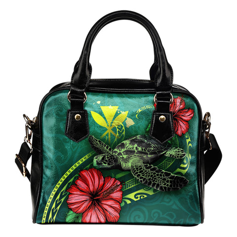 Hawaii Polynesian Shoulder Handbag - Green Turtle Hibiscus