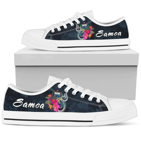 Samoa Polynesian Low Top Shoes - Tropical Flowers