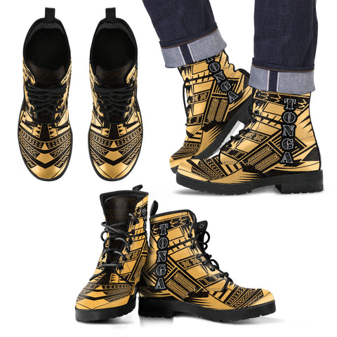 Image of Men's Tonga Leather Boots - Polynesian Tattoo Gold