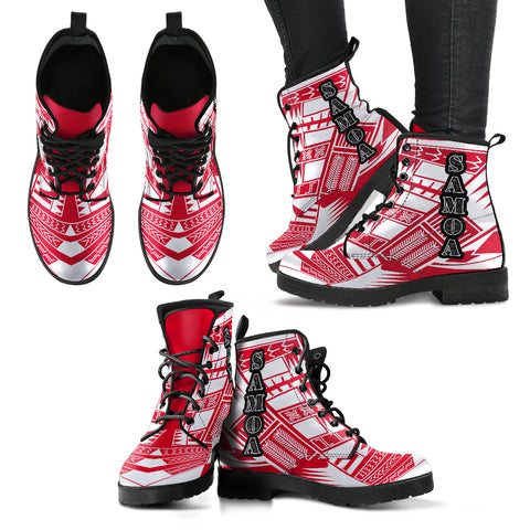 Women's Samoa Leather Boots - Polynesian Tattoo Flag
