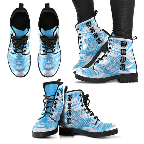 Women's Fiji Leather Boots - Polynesian Tattoo Flag