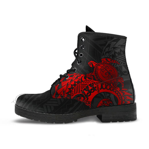 American Samoa Polynesian Leather Boots - Polynesian Turtle (Full Red)