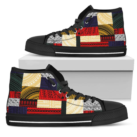 Image of Polynesian High Top Shoe - Design Retro Patchwork