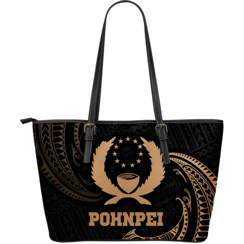 Pohnpei Micronesia Leather Tote Bag - Gold Tribal Wave