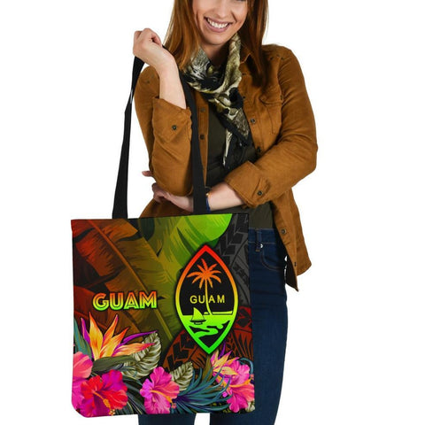 Guam Polynesian Tote Bag -  Hibiscus and Banana Leaves