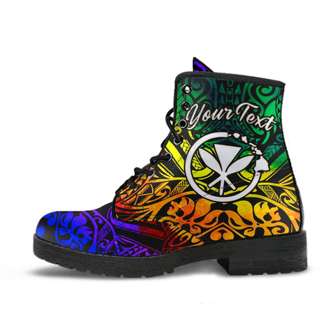 Hawaii Custom Personalised Leather Boots - Rainbow Polynesian Pattern