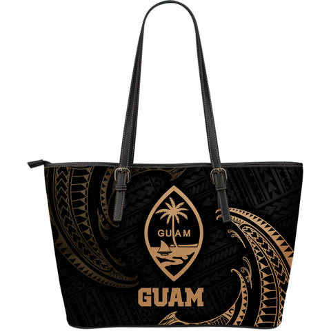 Image of Guam Polynesian Leather Tote Bag - Gold Tribal Wave